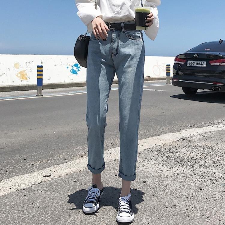 牛仔褲女春秋  新款韓版顯瘦寬鬆九分老爹蘿蔔初戀學生闊腿直筒