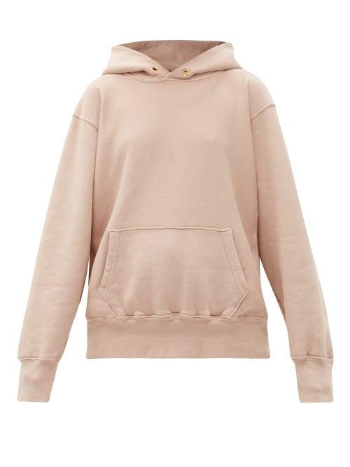 Les Tien - Brushed-back Cotton Hooded Sweatshirt - Womens - Light Pink