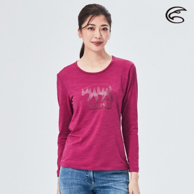 ADISI 女圓領圖騰雲彩紗透氣快乾保暖長袖上衣AL2021056 紫紅