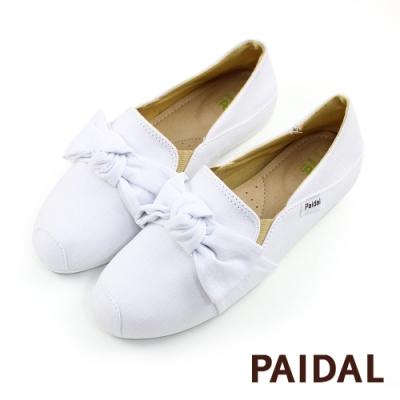 Paidal 大蝴蝶結踩腳鞋2WAY懶人鞋不彎腰鞋-小白鞋