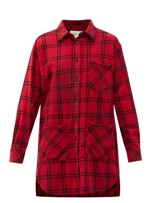 Gucci - Oversized Checked Wool-blend Flannel Shirt - Womens - Red Multi