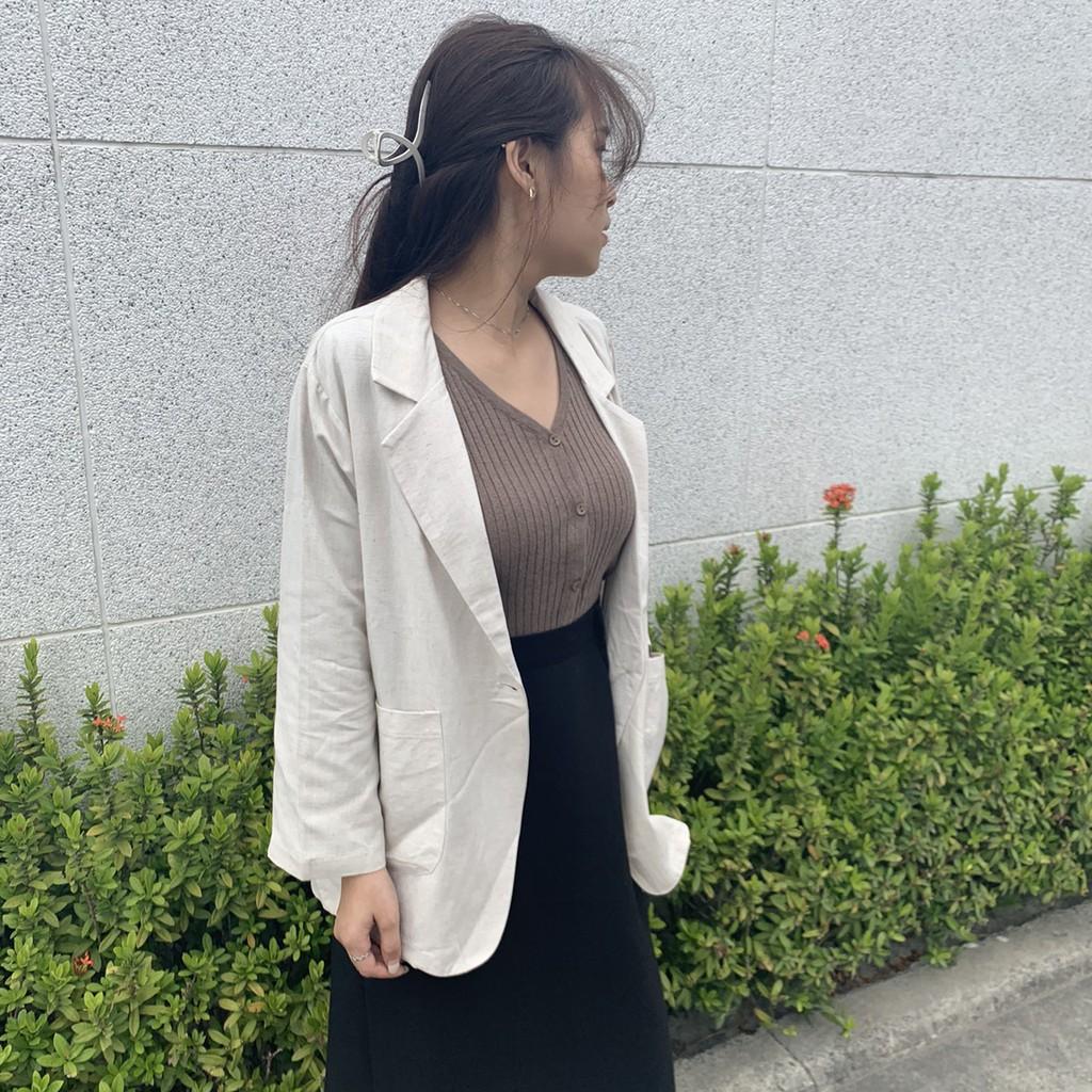 韓妞們必買棉麻翻領西裝外套 棉麻西裝外套 雙口袋西裝外套 軟料棉麻西裝外套 鈕釦外套 GRASS 現貨 [D601]