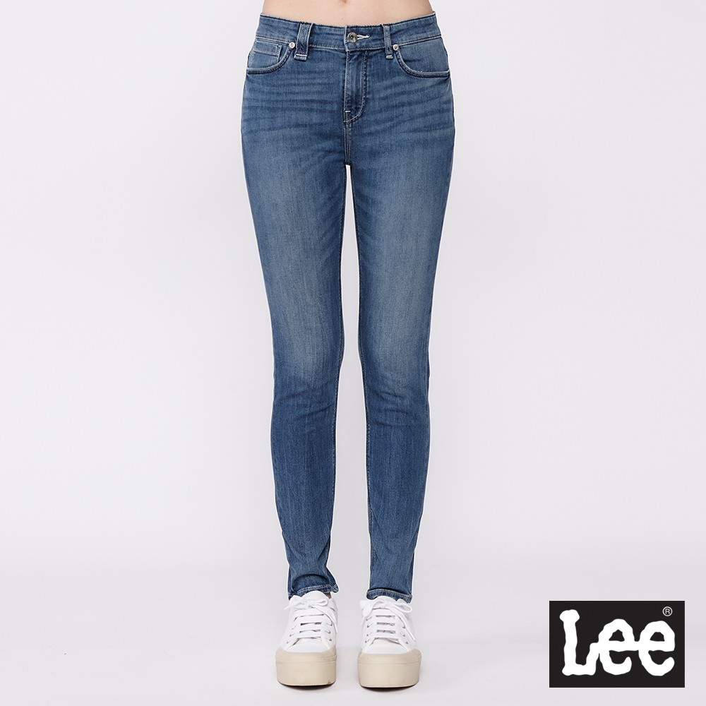 Lee 433 中腰合身窄管牛仔褲 女 中藍 彈性 Jade Fusion 涼感 Mainline