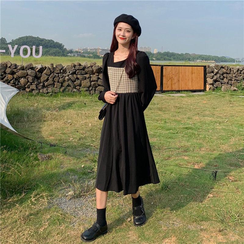 洋裝 長袖洋裝 氣質洋裝 秋季新款復古法式格子拼接假兩件收腰抽繩大尺碼顯瘦長袖女潮