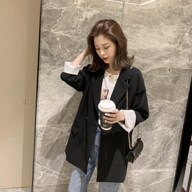 女生外套 西裝外套 休閒外套 春秋裝新款復古網紅韓版寬鬆chic休閑英倫風小西裝黑色外套女