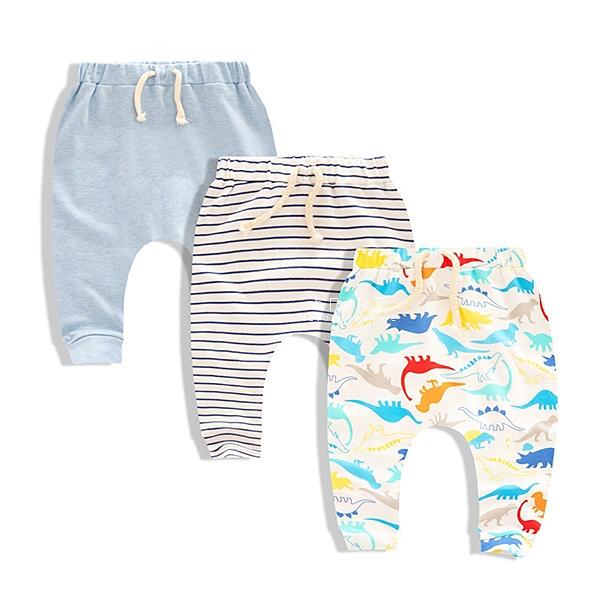 Moms care寶寶長褲 三件組 藍色恐龍 童裝 褲子
