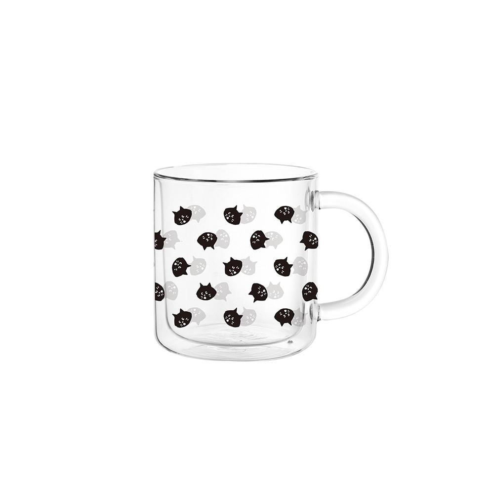 FUSHIMA X NYA- 經典雙層玻璃杯 400ML(把手) - 迷你貓