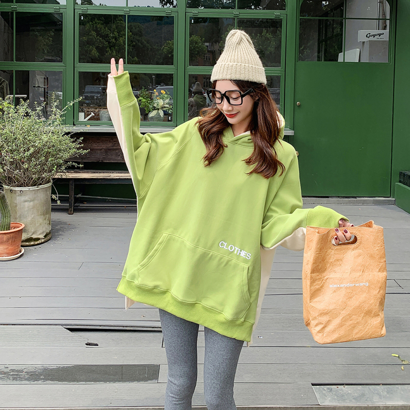M-5XL大尺碼衣著 酪梨綠連帽大學T女刷毛加厚寬鬆韓版2020秋冬新款