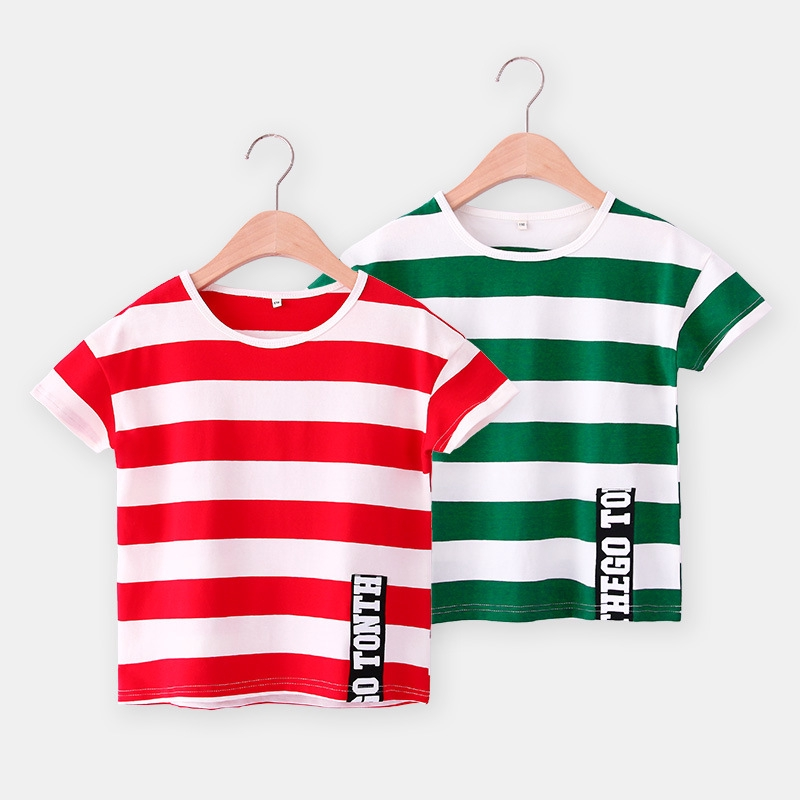 新款童裝兒童上衣夏季短袖條紋t恤純棉條紋短袖