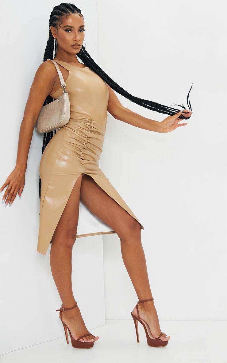 Camel PU Ruched Split Leg Midi Skirt