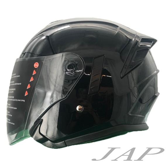 M2R FR-2 安全帽 FR2 素色 亮黑色 內襯可拆 內藏墨鏡 半罩 雙鏡 安全帽