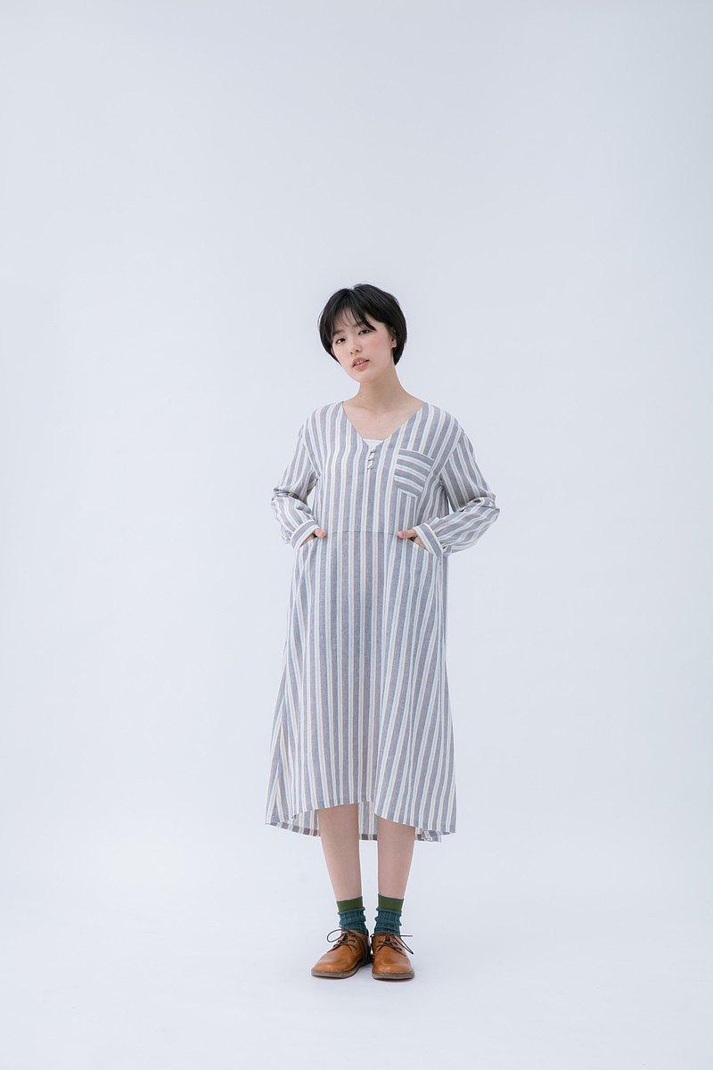 漫遊之季棉麻長袖小釦洋裝