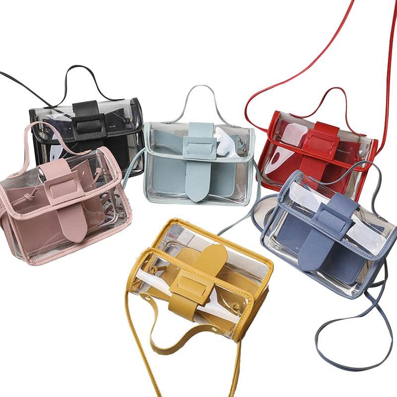 女士透明果凍小方包大針扣斜挎包小包 潮可 新款優惠 上新