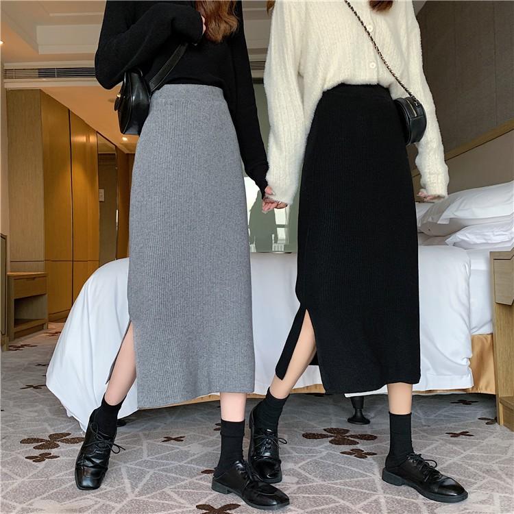 氣質 A字裙 針織半身裙 包臀裙 女生裙子 簡約 素色 高腰 顯瘦 開叉 A型 包臀 中長款 半身裙