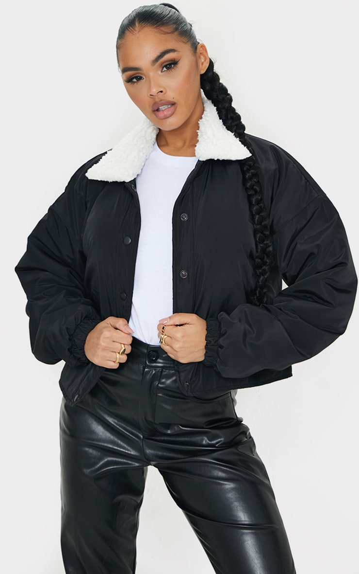 Black Nylon Contrast Borg Collar Bomber Jacket