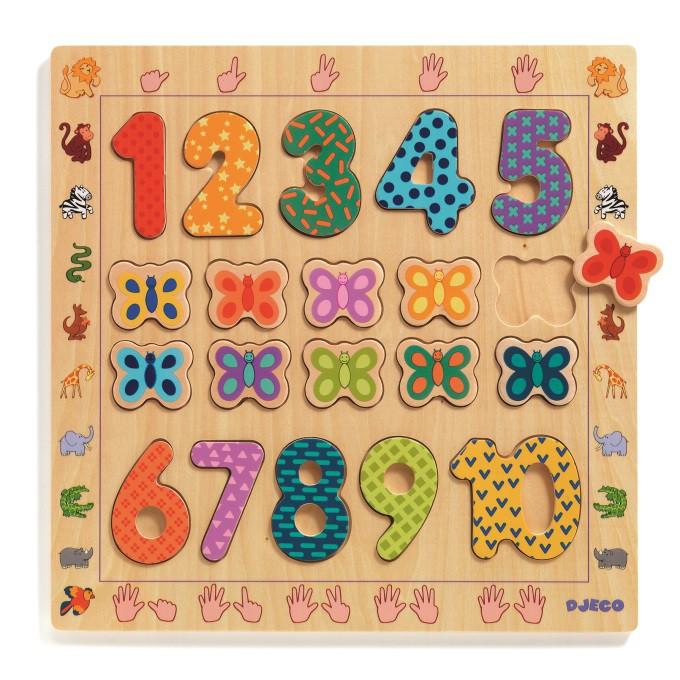 智荷DJECO 數字1~10 木拼圖 左右腦拼圖 數字拼圖 學習數量的概念 DJ01801