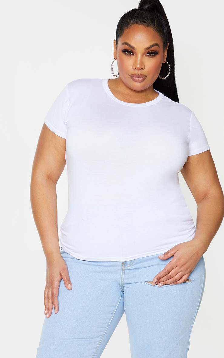 Plus Basic White Crew Neck Fitted T Shirt