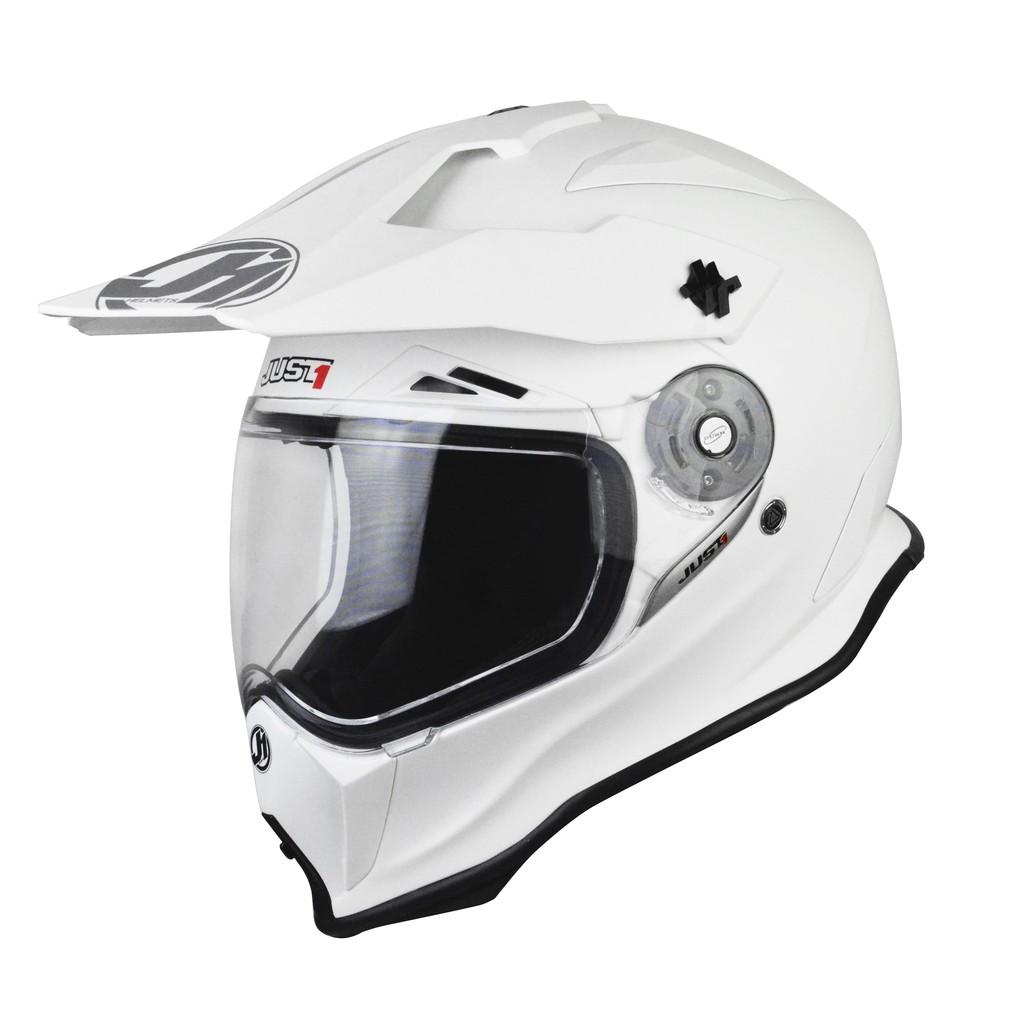 【Just1】J14 全碳纖維 頂級 多功能越野帽 鳥帽 輕量透氣 內襯全可拆 快脫 KTM 消光白