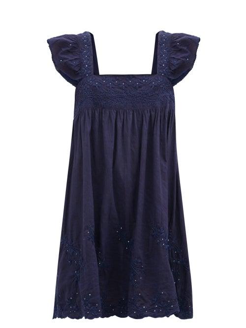 Juliet Dunn - Ruffle-sleeve Floral-embroidered Cotton Mini Dress - Womens - Navy