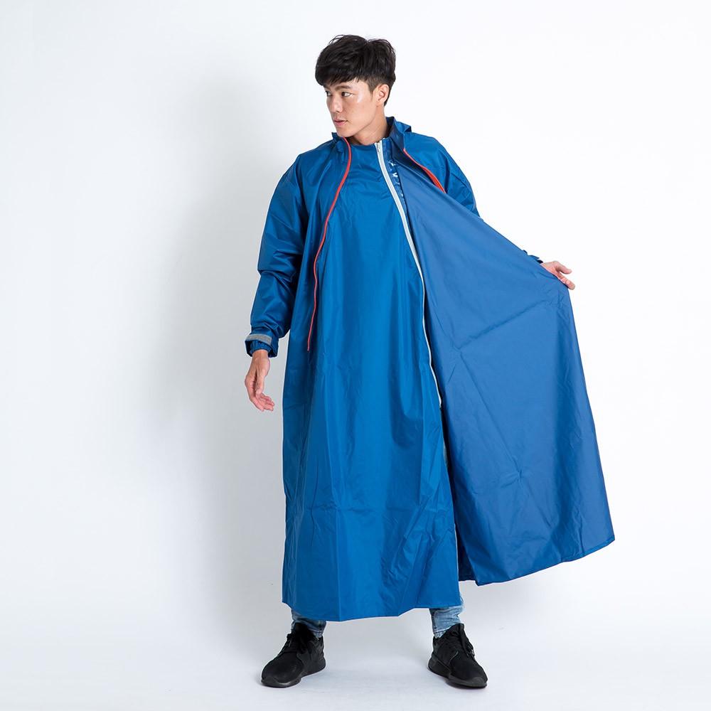 Outperform 去去雨水走斜開雙拉鍊專利連身式 深海藍 一件式雨衣 專利雙拉鍊 斜開拉鍊 連身式雨衣《淘帽屋》