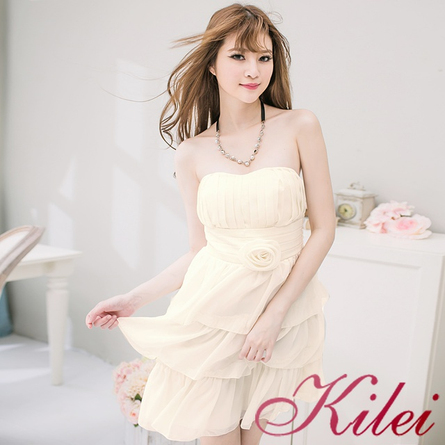 Kilei 桃心領蛋糕雪紡小禮服洋裝XA2028-03(甜蜜杏)小尺碼 廠商直送 現貨