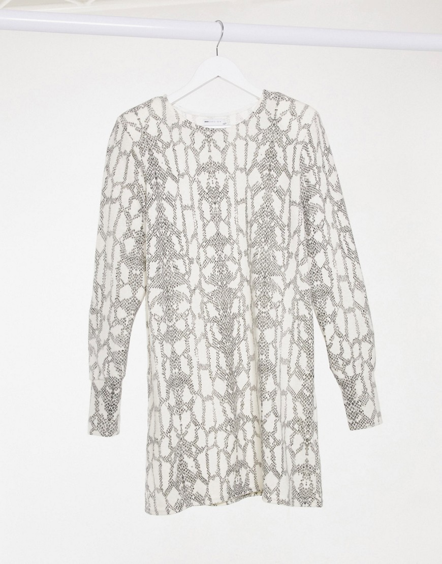 ASOS DESIGN long sleeve super soft mini dress in snake print-White