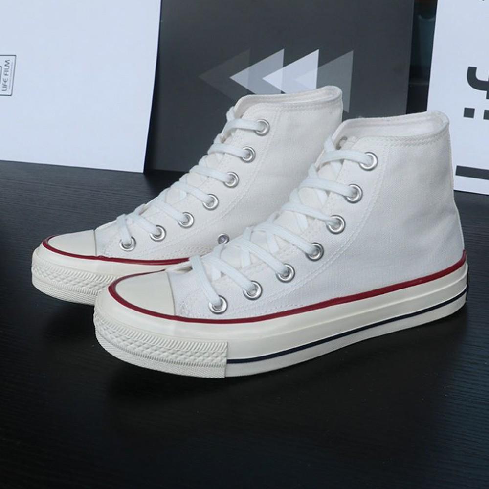 X-INGCHI 男女款白色復古高筒帆布鞋-NO.X0253