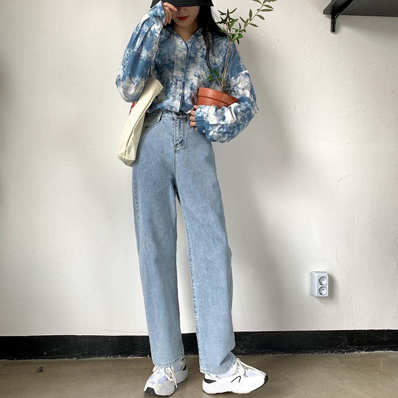 M-4XL大尺碼衣著 2020年新款秋季高腰寬褲胖妹妹牛仔褲女寬鬆顯瘦直筒褲