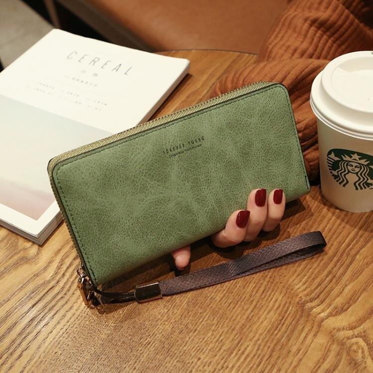 時尚可放6寸手機女士復古手提手拿長款零錢包
