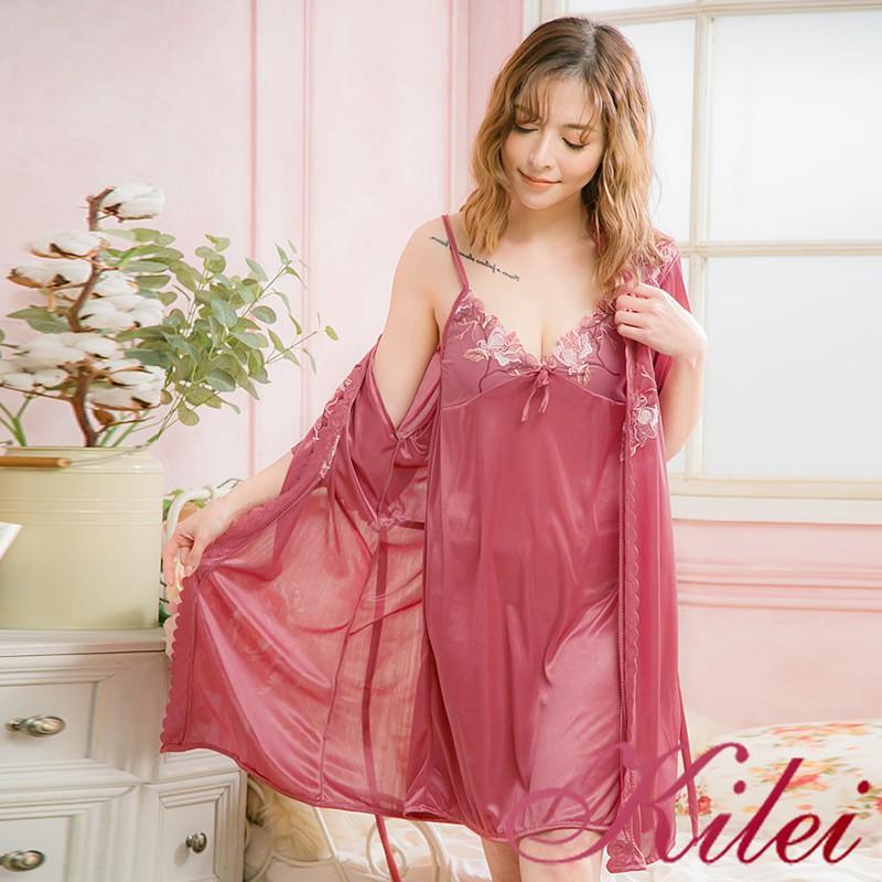 Kilei V領繡花網紗冰絲睡裙罩衫二件式睡衣組XA4008-04(女神深豆沙)全尺碼 廠商直送 現貨