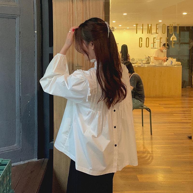 M-4XL大尺碼衣著 女裝胖mm設計感上衣秋襯衫女韓版寬鬆外穿百搭襯衫