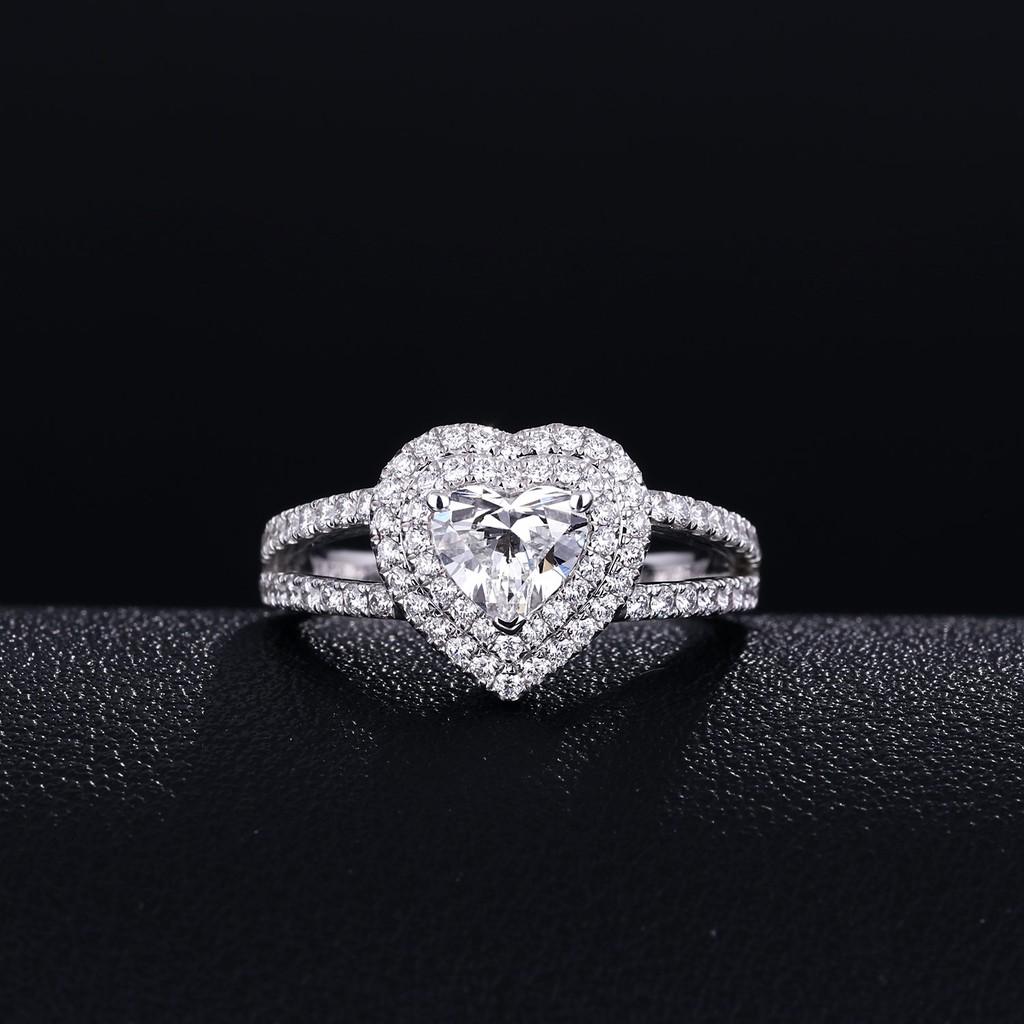 【巧品珠寶】天然鑽石心形切割主鑽搭配群鑲滿鑽圍繞雙心線條雙簍空戒壁豪華款鑽戒
