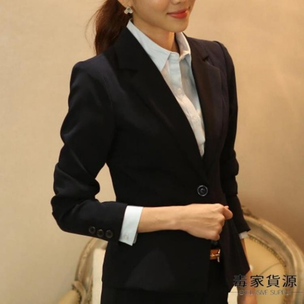 小西裝女韓版修身面試正裝上衣短款工作服休閒西服外套潮