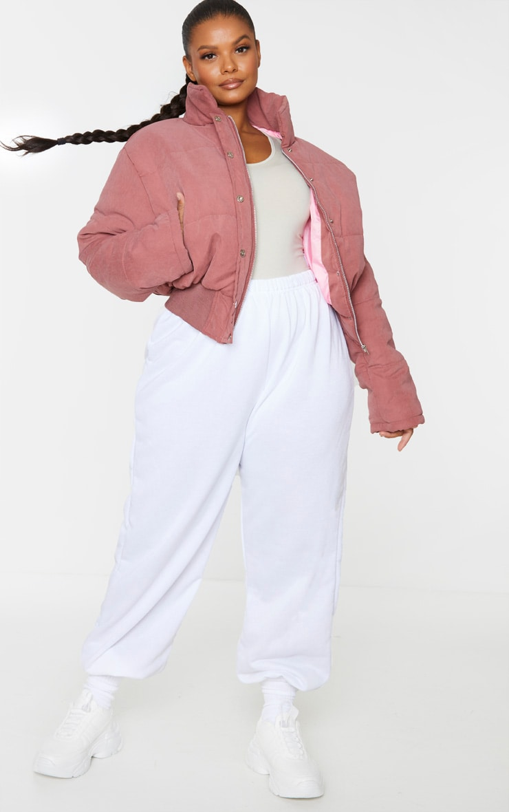 Plus Pink Peach Skin Cropped Puffer Jacket