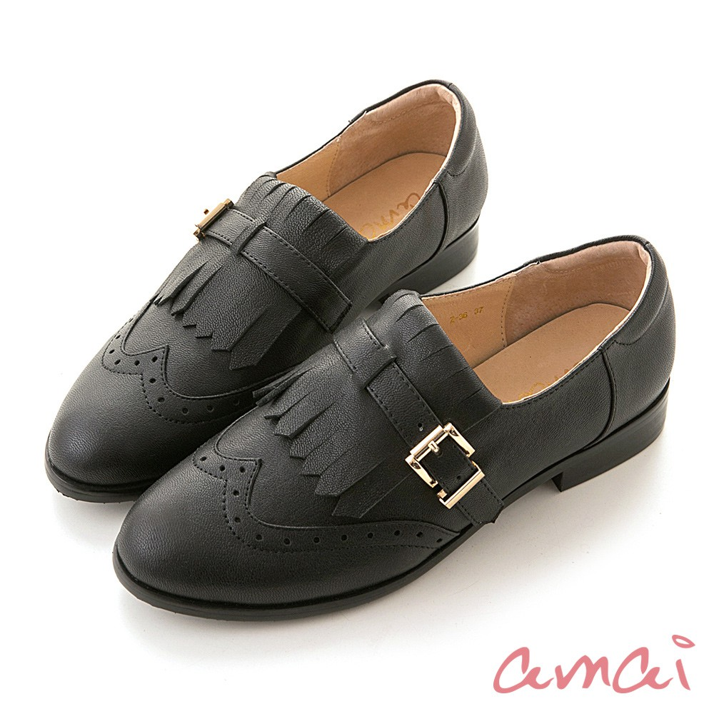 amai 頂級全真皮-學院風流蘇牛津樂福鞋 黑 Z-36BK