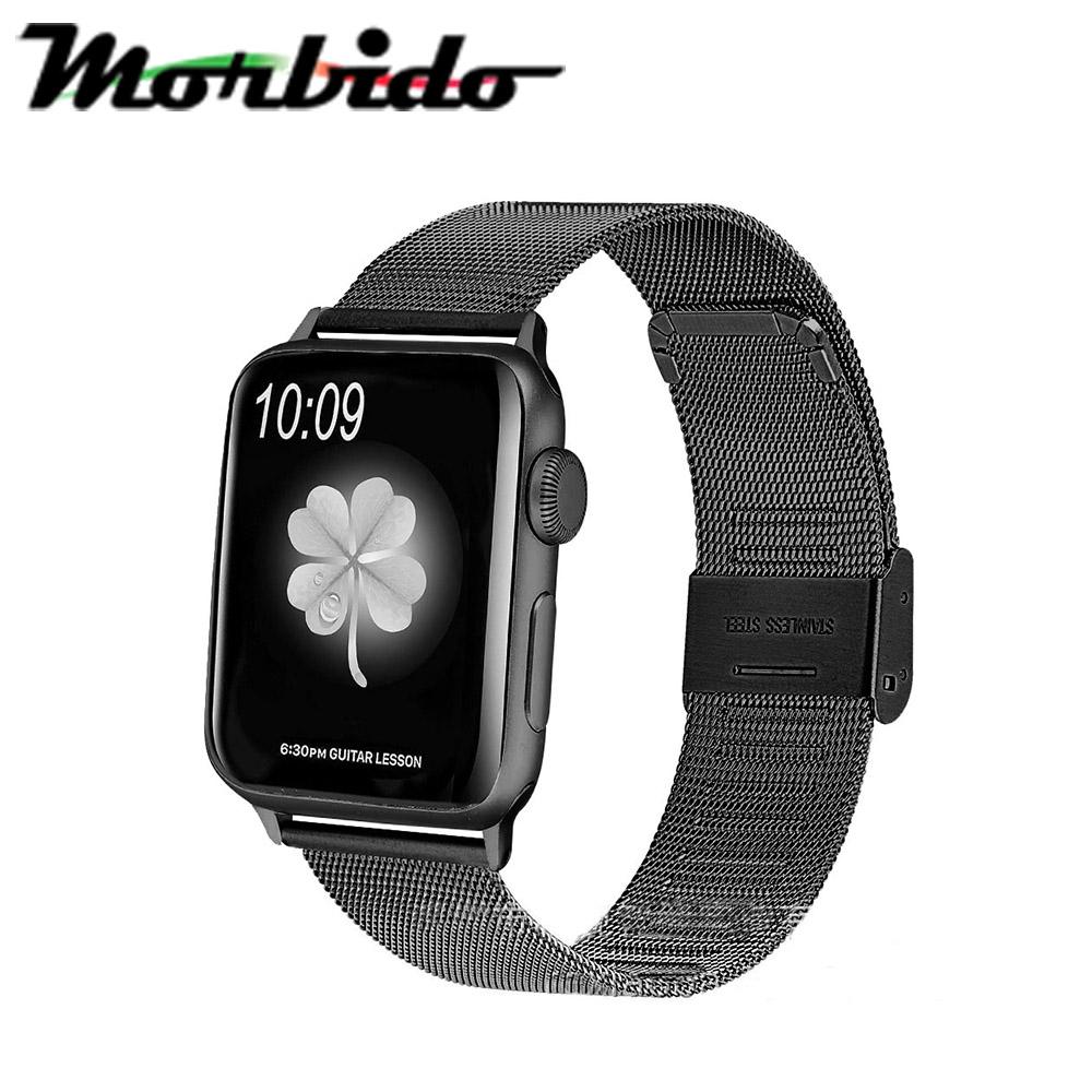 Morbido蒙彼多 Apple Watch 42mm不鏽鋼編織卡扣式錶帶 黑