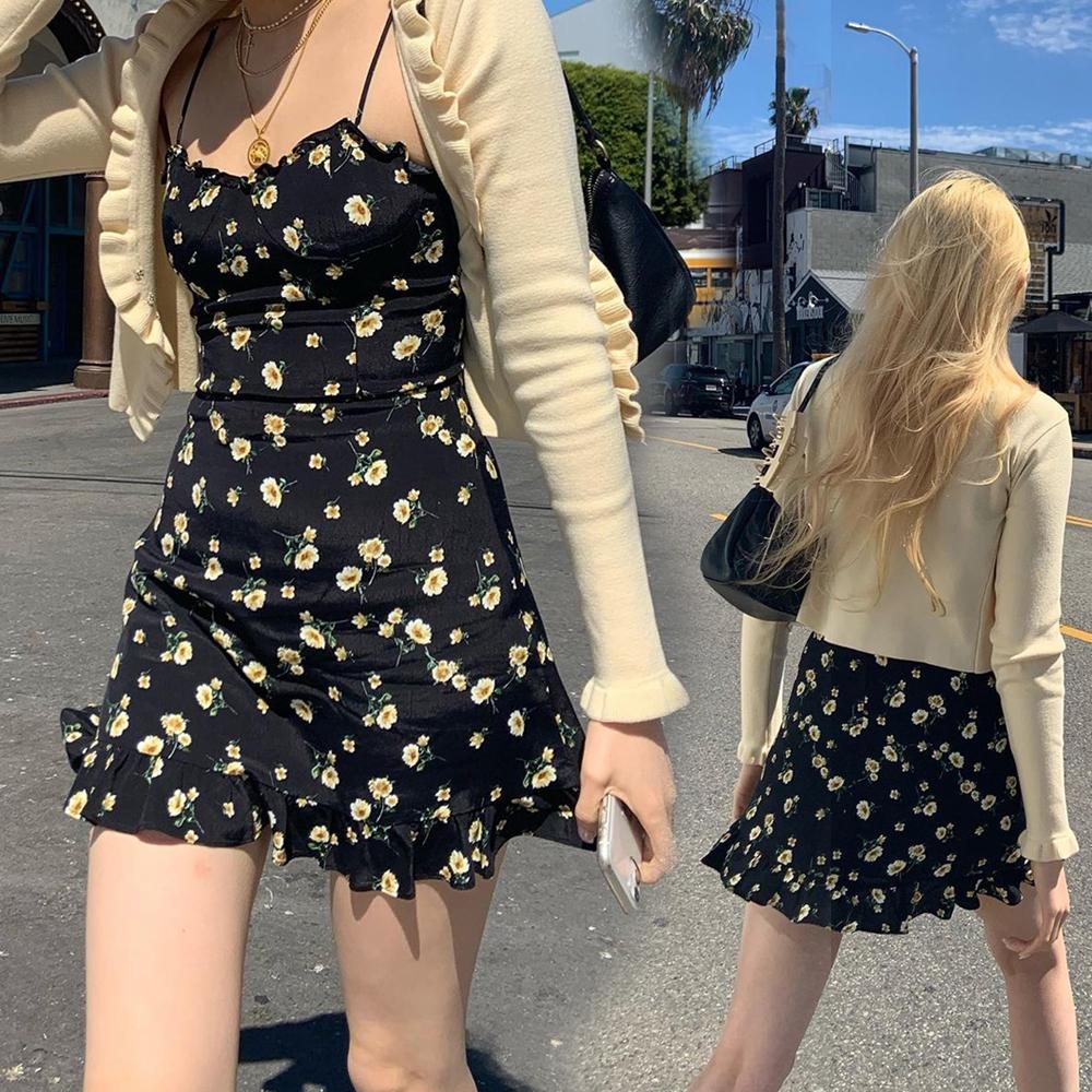 小可愛裙 216095早秋新款洋氣性感荷葉邊緊身顯瘦碎花洋裝潮