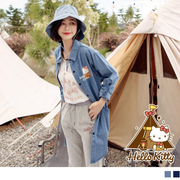 KITTY露營系列~純棉袖可反折牛仔長版襯衫