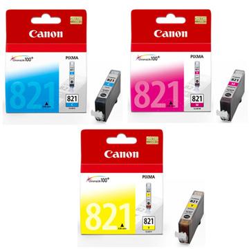 CANON CLI-821Y+M+C 原廠彩色墨水組合