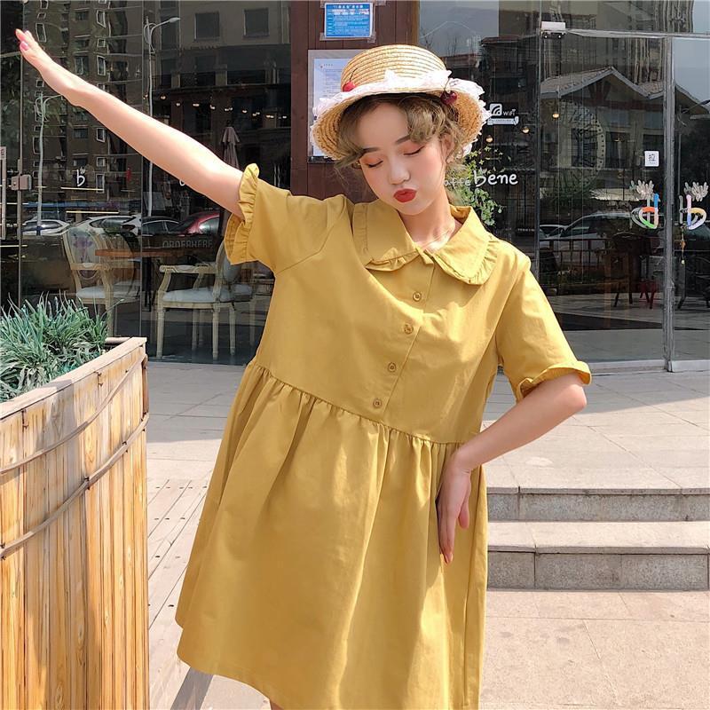女生洋裝 短袖洋裝 寬鬆洋裝 春夏韓版短袖女新款中長款裙子學生小眾簡約A字裙
