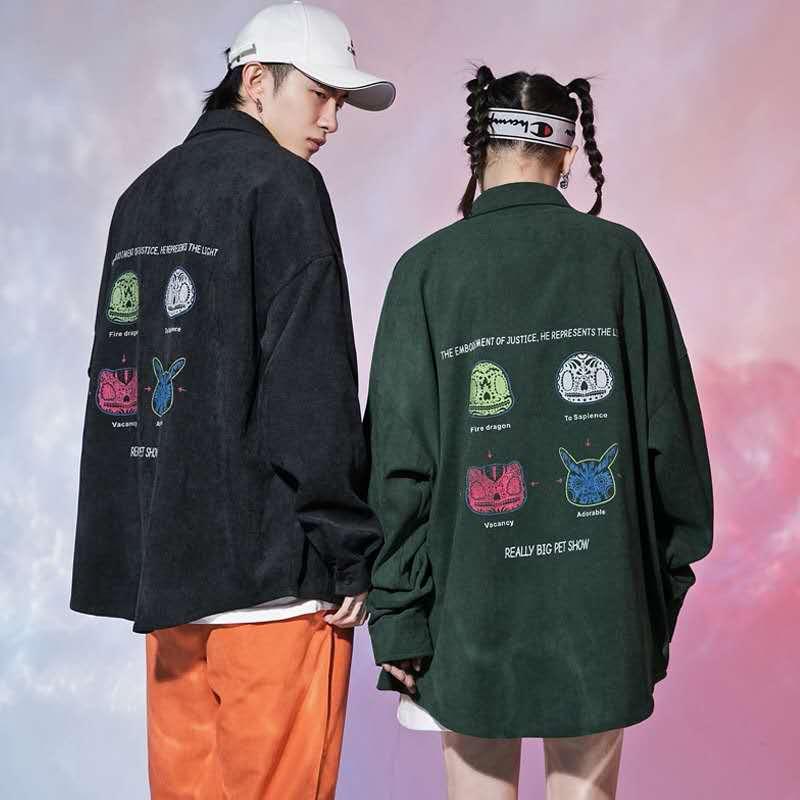 S-2XL韓版男生長袖襯衫 暗黑惡魔嘻哈長袖襯衫 時尚潮流印花長袖襯衫 寬鬆休閒長袖襯衫外套