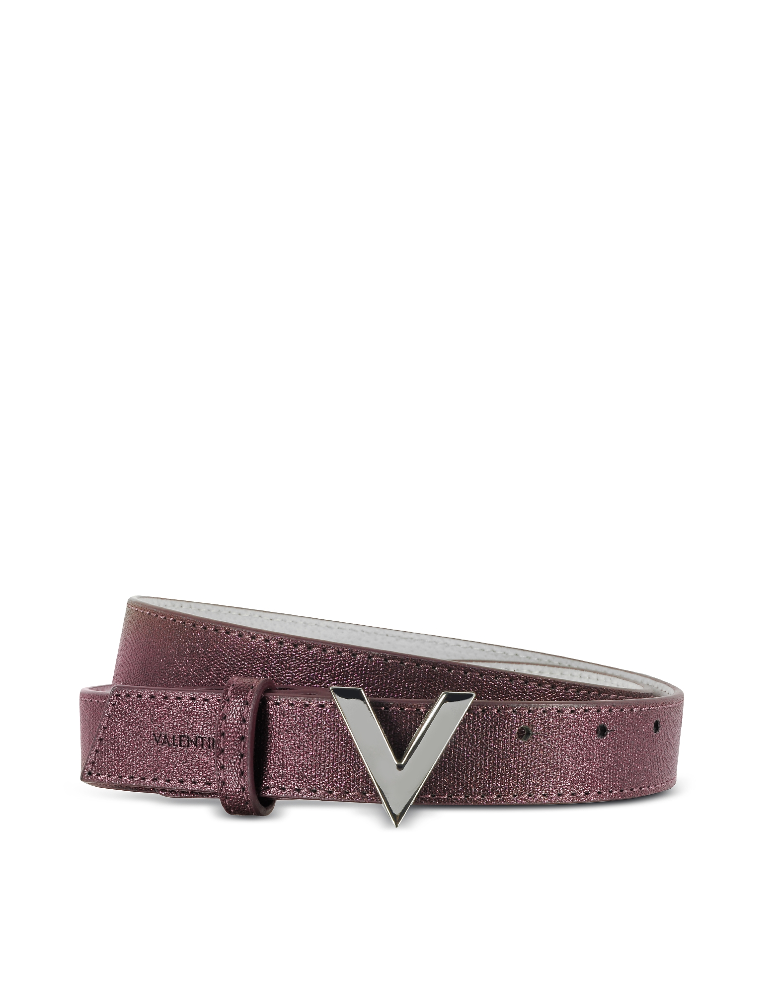 VALENTINO by Mario Valentino 女士腰带, Marilyn Purple Eco-Leather Women's Belt