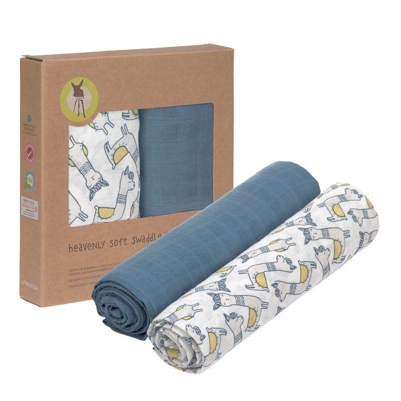德國 LASSIG 超柔手感竹纖維嬰兒包巾毯2入-(羊駝藍)【衛立兒生活館】