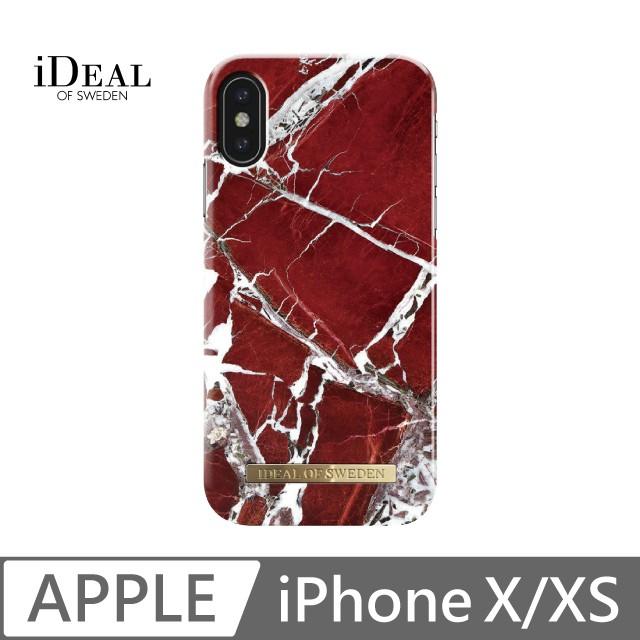 iDeal Of Sweden iPhone Xs 斐紅珠寶大理石 經典時尚防護殼