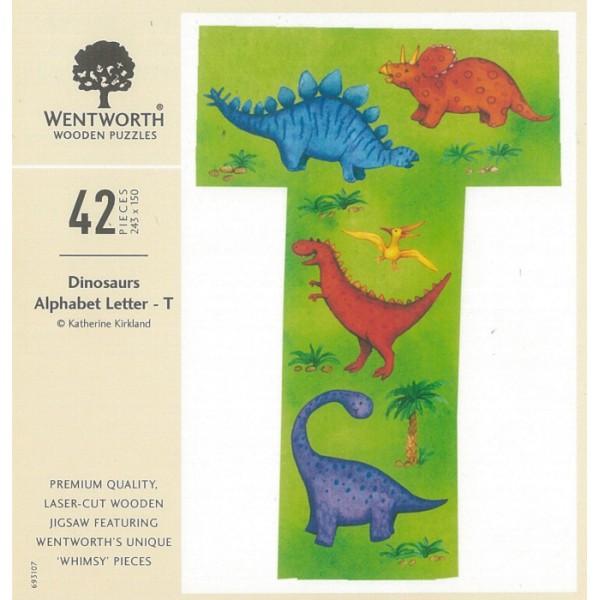 WENTWORTH 恐龍 字母 T 42P 拼圖總動員 木拼 英國拼圖