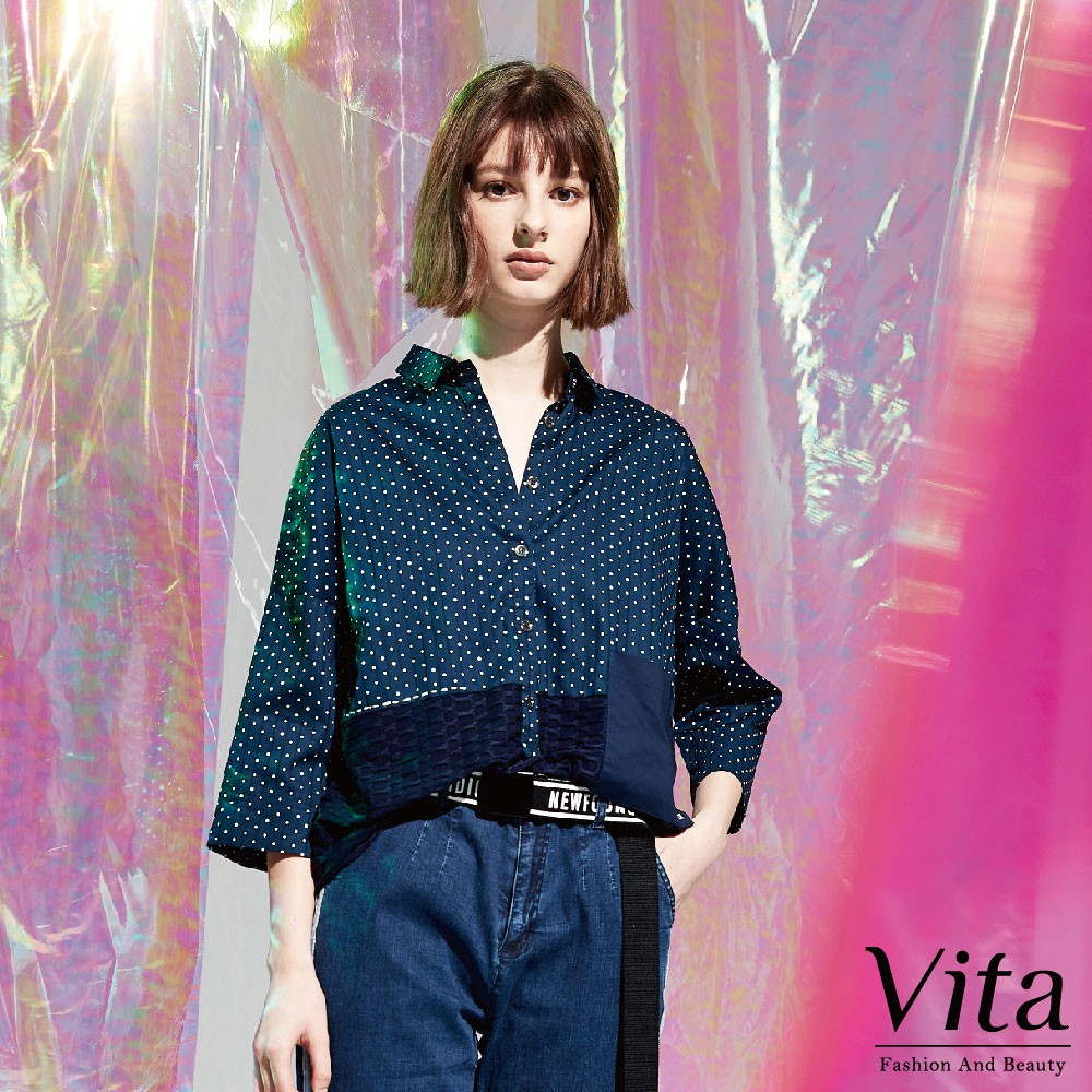 Vita-棉質排扣圓點上衣-藍-0360-61665-70
