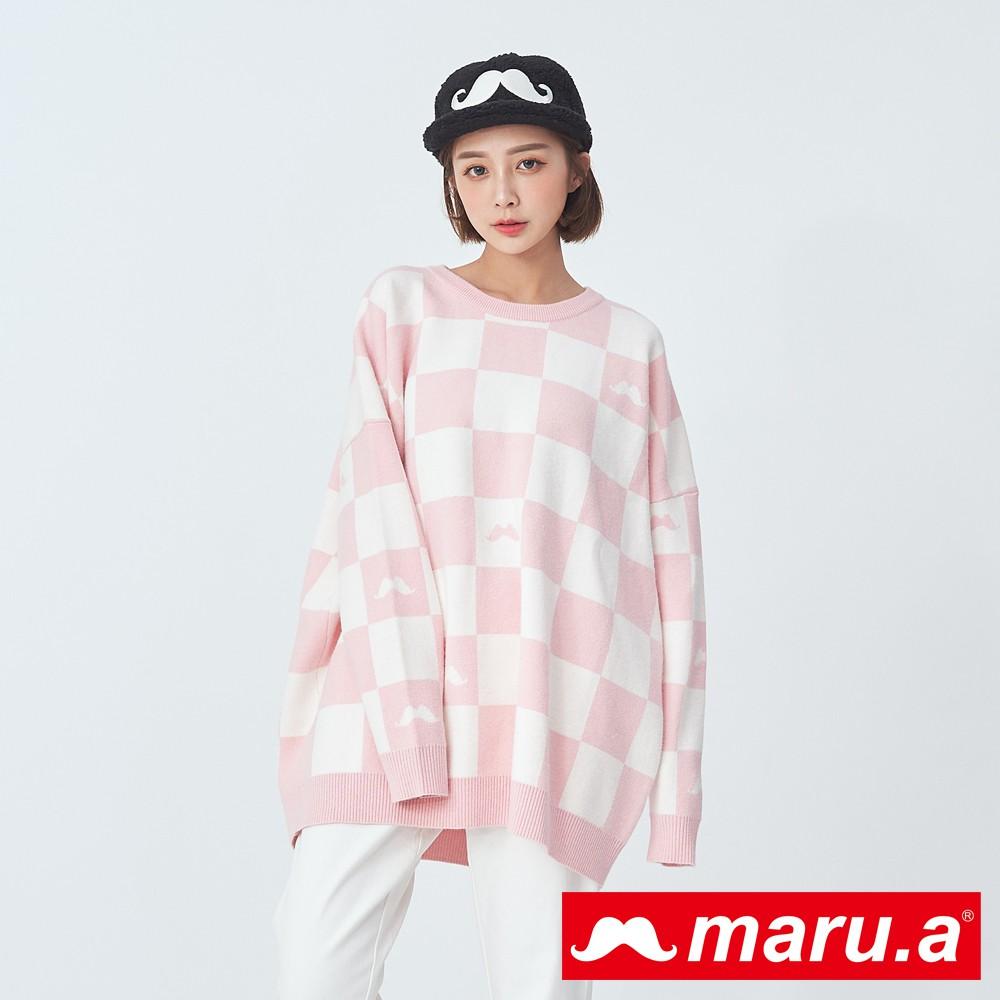 maru.a (99)鬍子圖案滿版格紋針織上衣(淺粉)