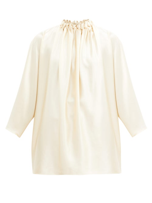 Roksanda - Ava Braided High-neck Silk-crepe Blouse - Womens - Ivory