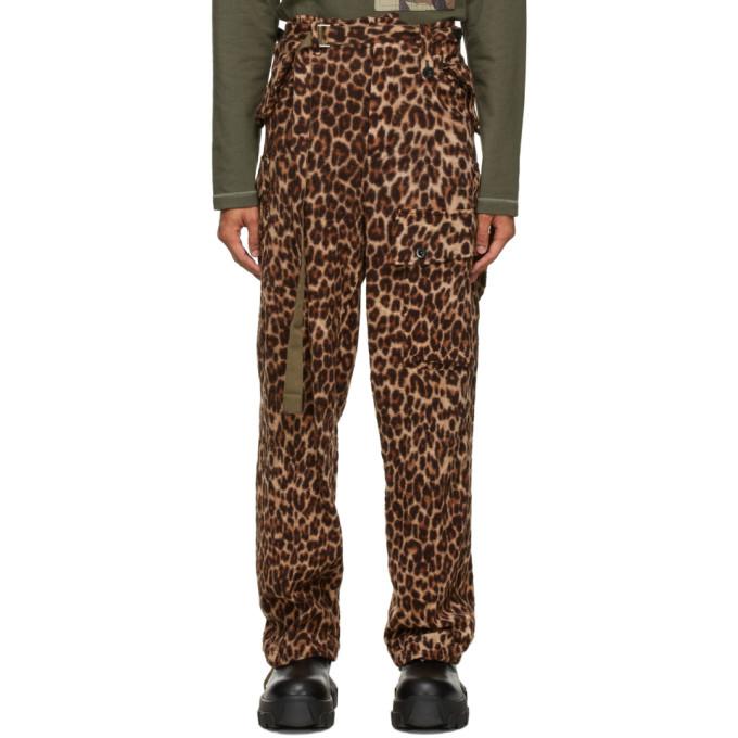 Sacai 棕色 Solid Shrivel 豹纹羊毛长裤