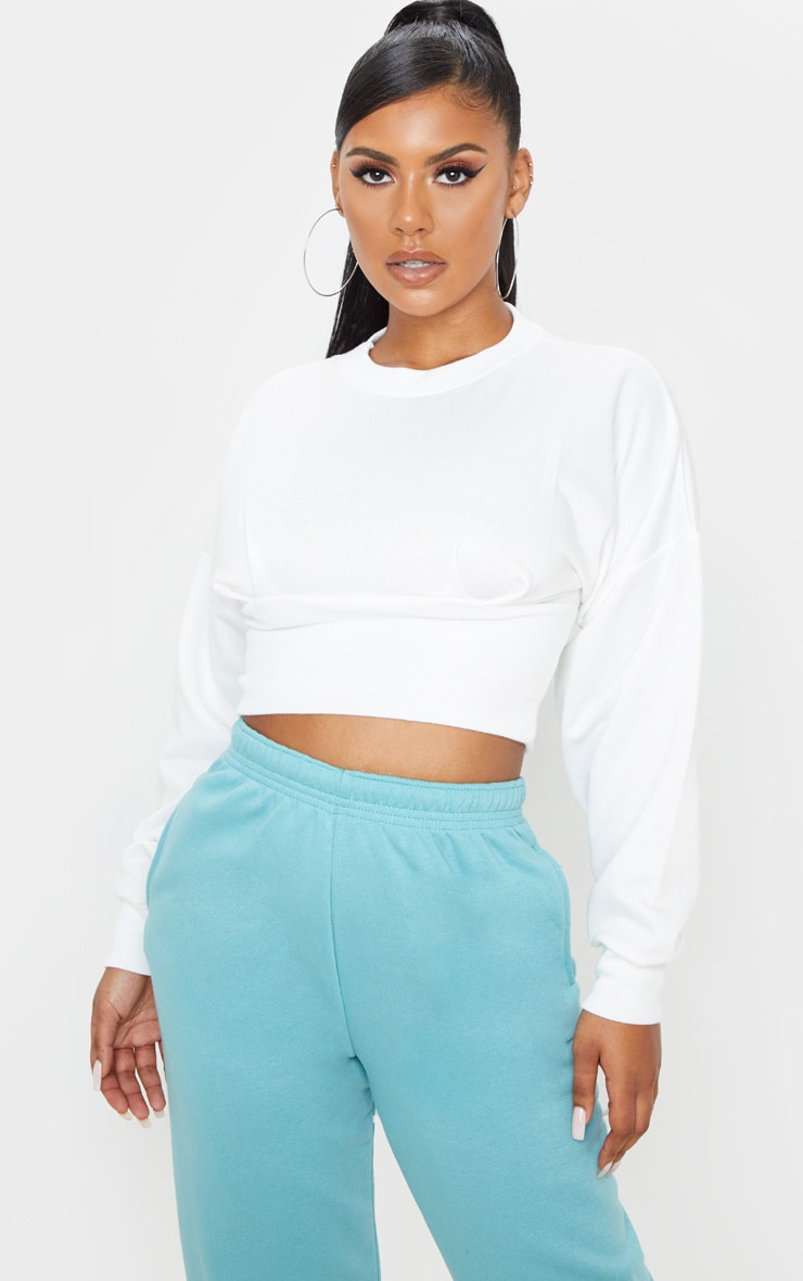 Cream Rib Extreme Hem Crop Sweater